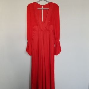 NEW FREE PEOPLE JUMPSUIT WIDE LEG SIZE 4 RED